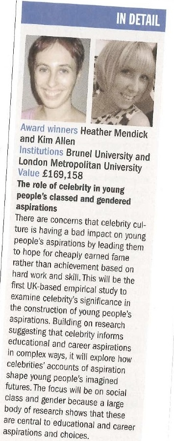 Article about the CelebYouth ESRC grant